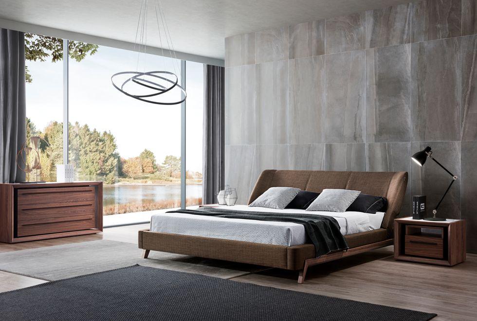 Arizona Bed and Malibu Walnut Cabinets with Black Metalwork
