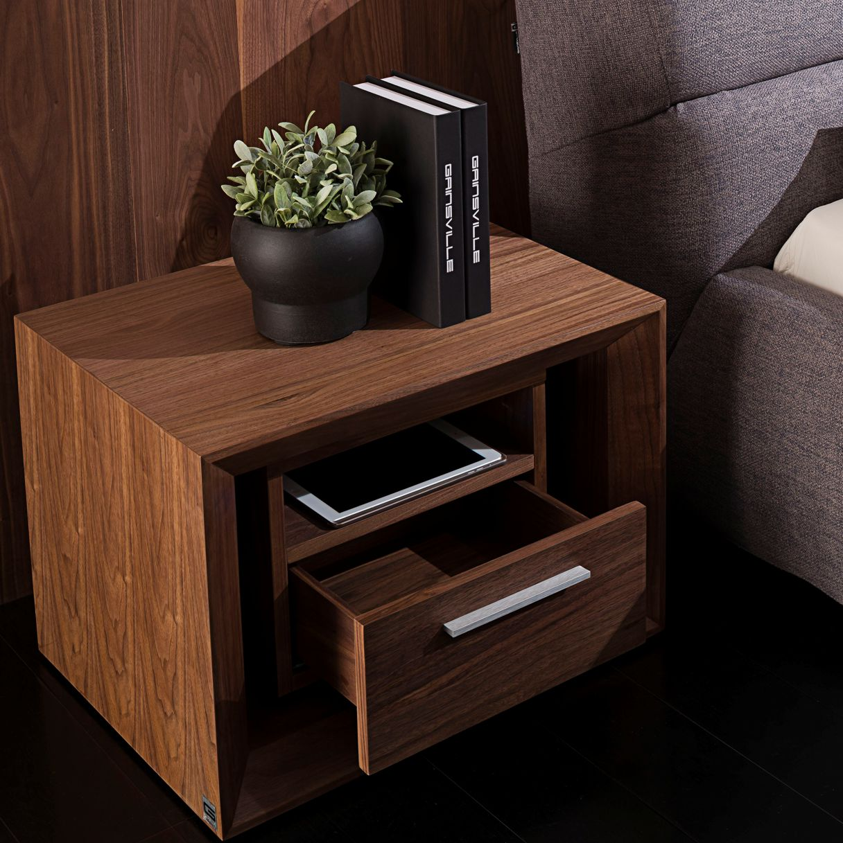Malibu M60 Walnut Bedside Table