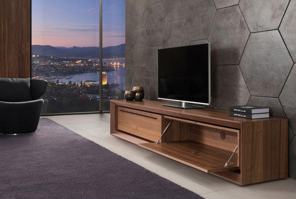Malibu Tv Unit C with Timber Doors