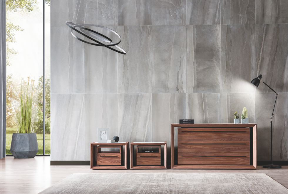 Malibu Walnut Bedside Tables and Dresser with Venato Top and Black Metalwork
