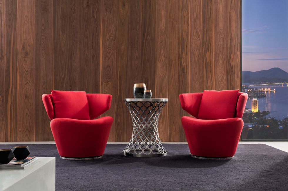 CRS22 Feature Swivel Chair in Red Fabric