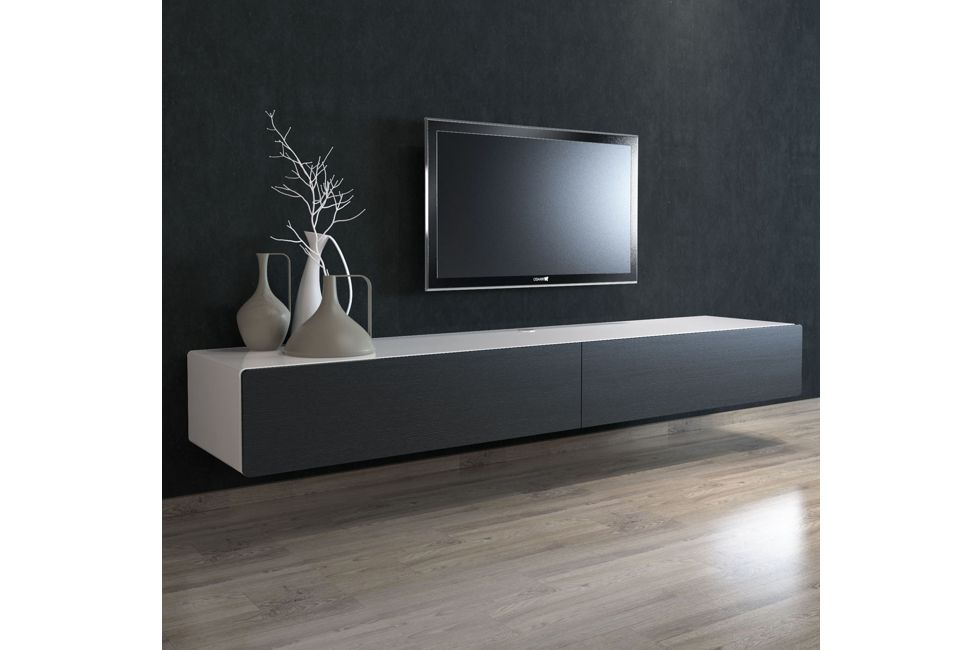 Brando 220cm Floating Tv Unit with Black Oak Doors 980px x 650px (1)