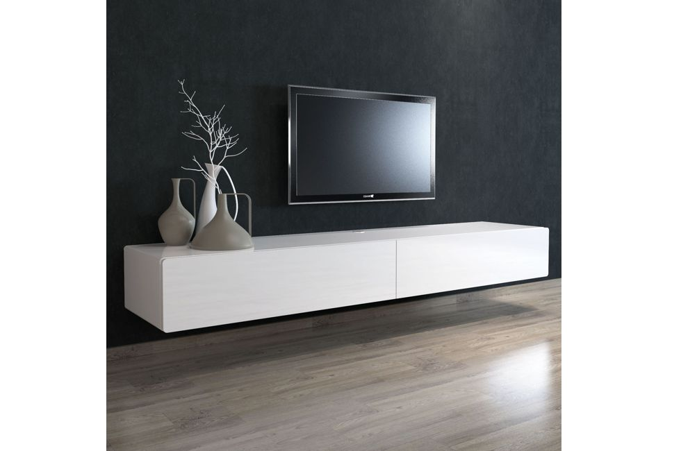 Brando 220cm Floating Tv Unit with Gloss White Doors 980px x 650px (1)