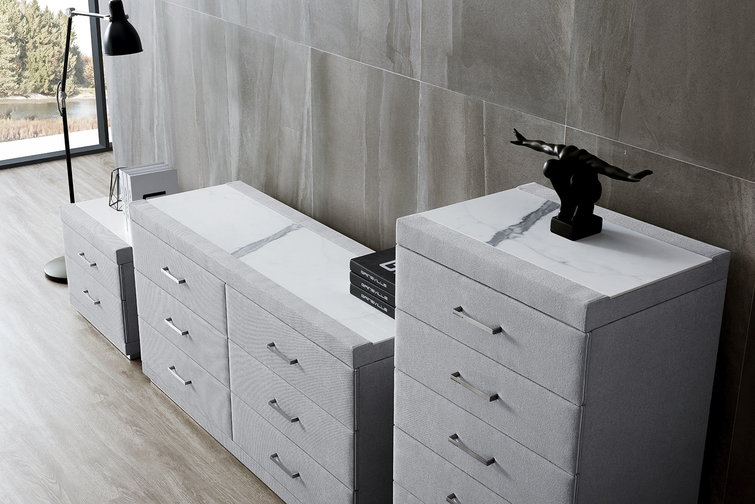 G5 Upholstered Bedroom Cabinets with Marble Ceramic Top