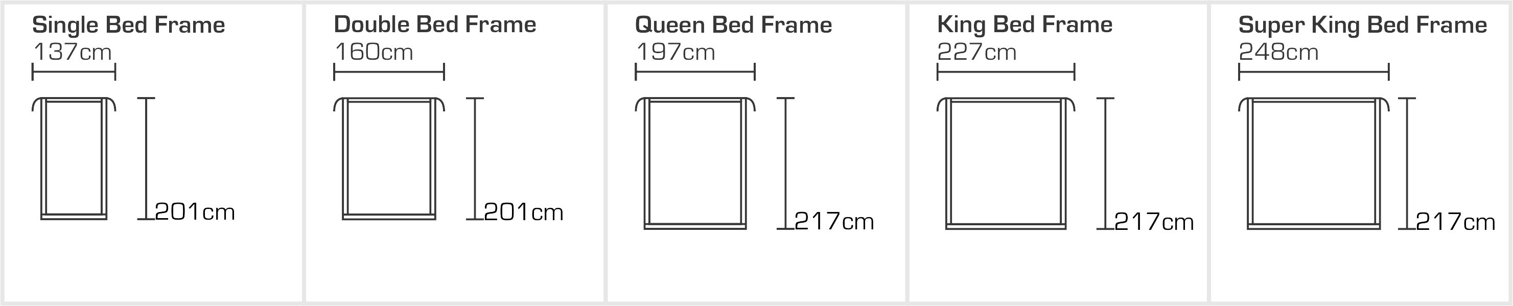Venezia Bed Frame Sizes
