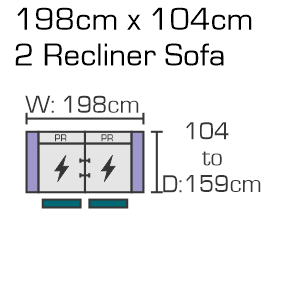 198cm x 104cm 2 Recliner Sofa Website Diagram (1)