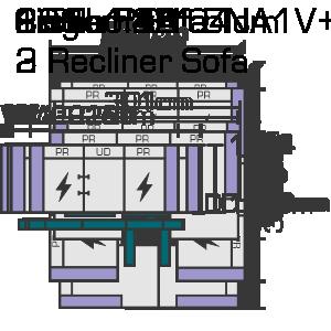 228cm x 104cm 2 Recliner Sofa Website Diagram (1)