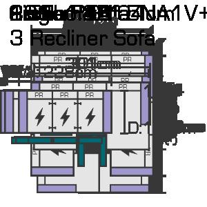 228cm x 104cm 3 Recliner Sofa Website Diagram (1)