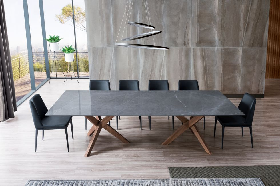 Orion Rectangle Timber and Stone Dining Table