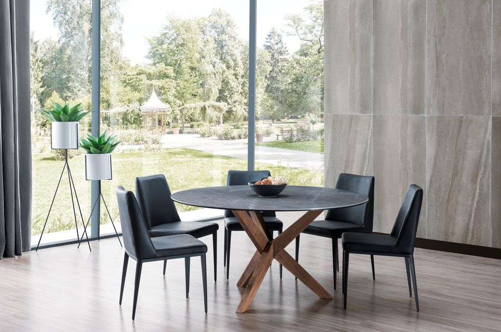 Orion Round Timber and Stone Dining Table