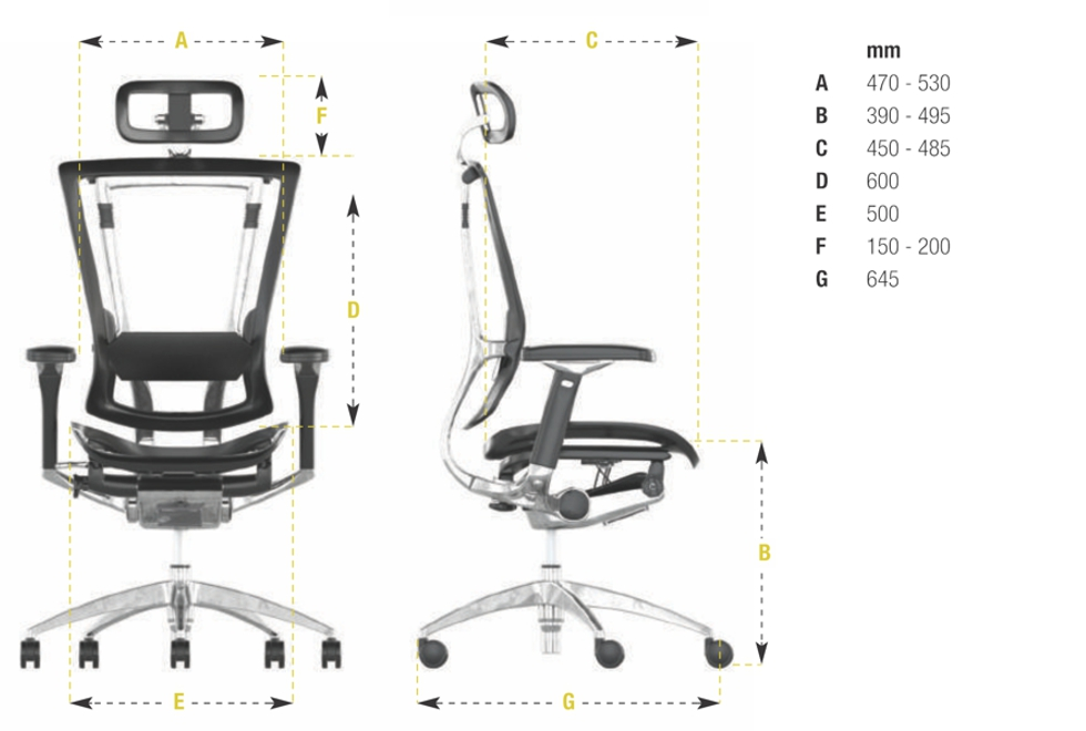 Nefil Luxury Office Chair Dimensions